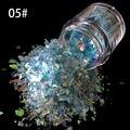 10g/botella Nail Art Poder Brillo Papel de aluminio Mylar Hielo azul claro Decoración Del Arte Del Clavo Herramientas SG-05