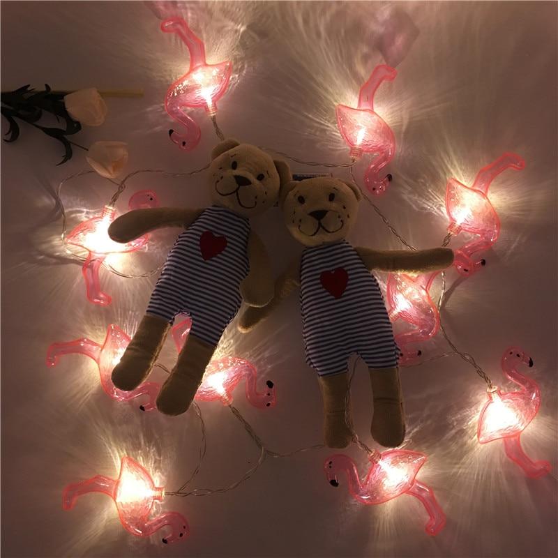 Hot Flamingo LED Fairy Light String Girl Bedroom Romantic Photo Wall Holiday Party Christmas Tree Halloween Wedding Decoration