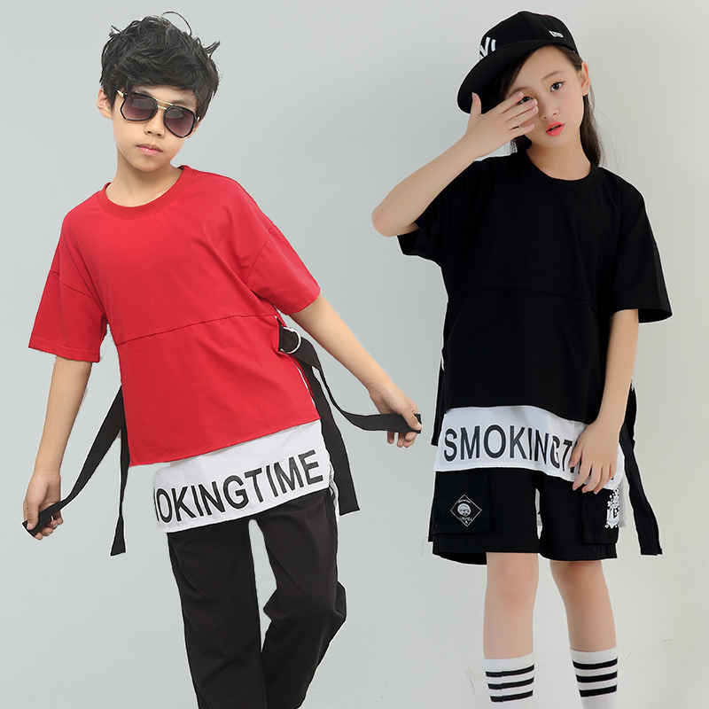 Children Dance Costumes For Boys Girls Black Oversize Short Sleeve Hip Hop T Shirt Pant Shorts 2pcs Kids Stage in Clothing Sets from Mother Kids