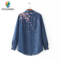 Women Foral Embroidery Denim Blouse Cowboy Shirts Button Fashion Streetwear Turn Down Collar Tops Long Sleeve