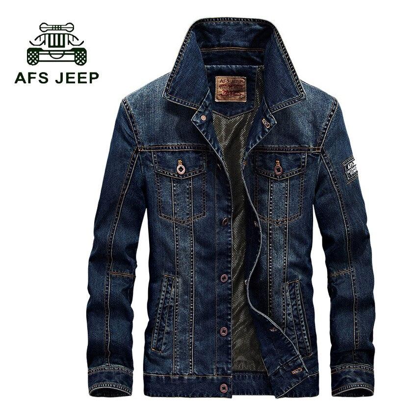 AFS JEEP Nouvelle Mode Cowboy Denim Veste 2017 printemps Automne Manteau de Veste Hommes Hommes Vêtements Plus La Taille de survêtement M-4XL 128z