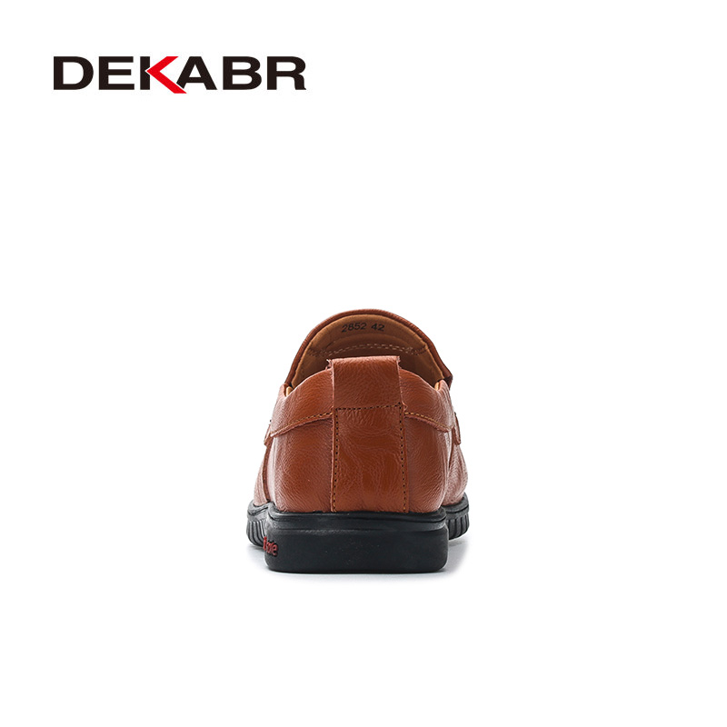 Genuine Leather Comfortable Men's Casual Footwear Flat Slip On Shoes 2