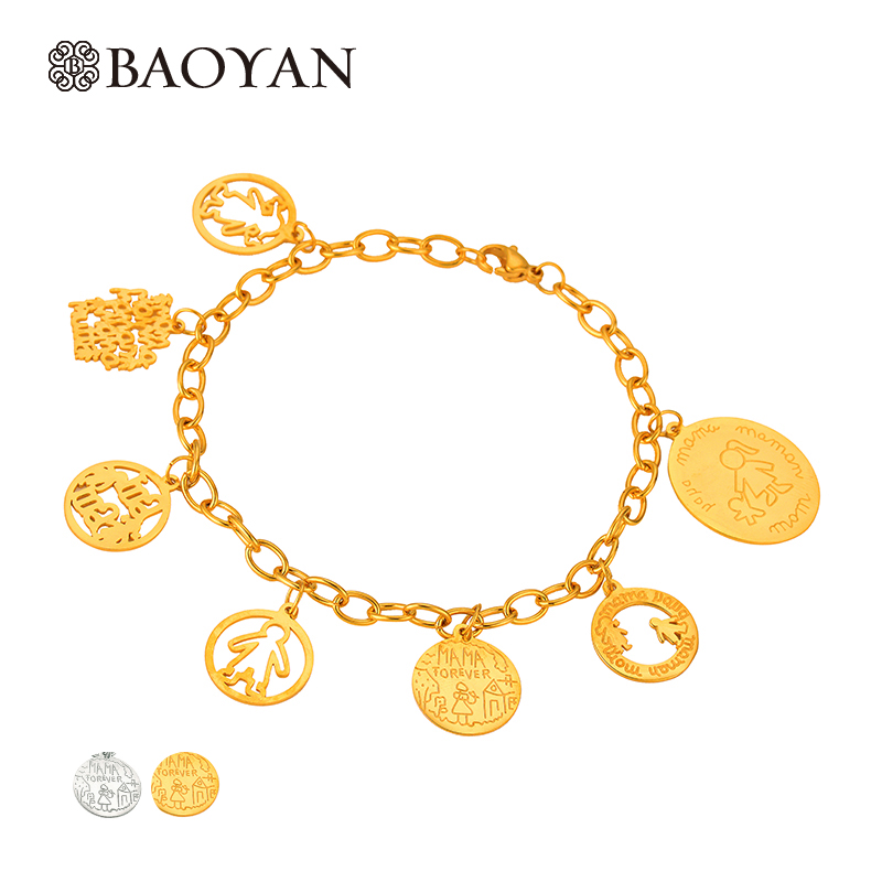 Baoyan New Cute 316L Stainless Steel Gold Silver Color Lovel