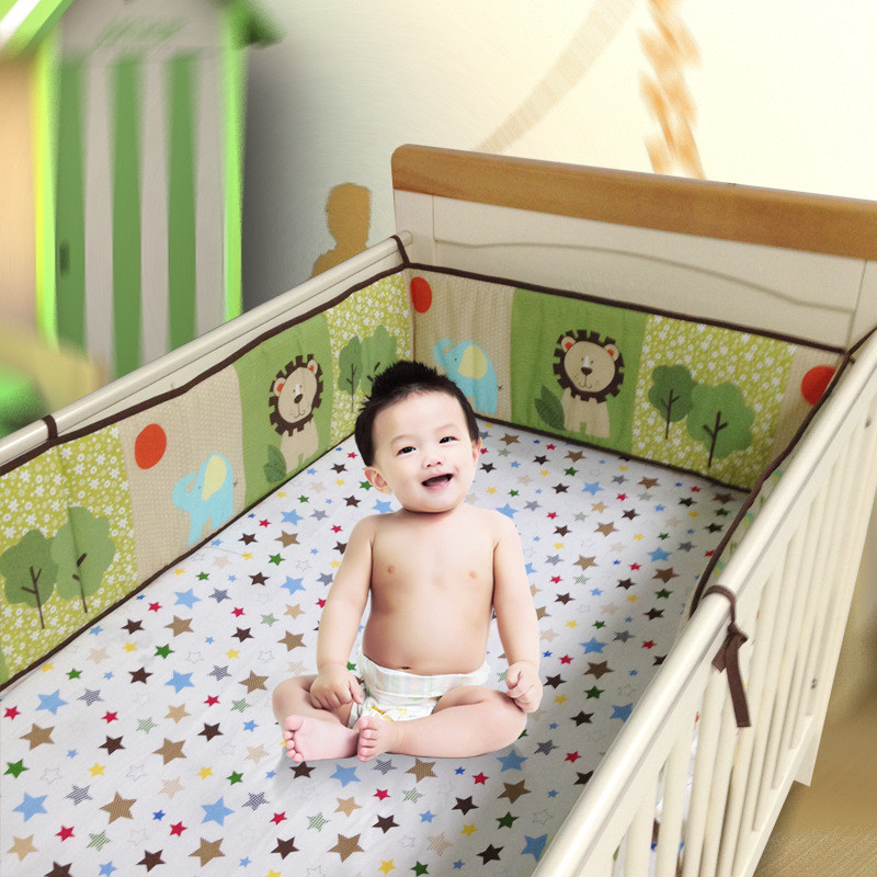 4Pcs/sets Fashion Cartoon Breathable Cotton Baby Crib Bumper Bnfant Bedding Baby Safe Protection for Baby Bedding Bumper Liner 4pcs bedding suit polyester fibre star moon reactive printed bedding sets