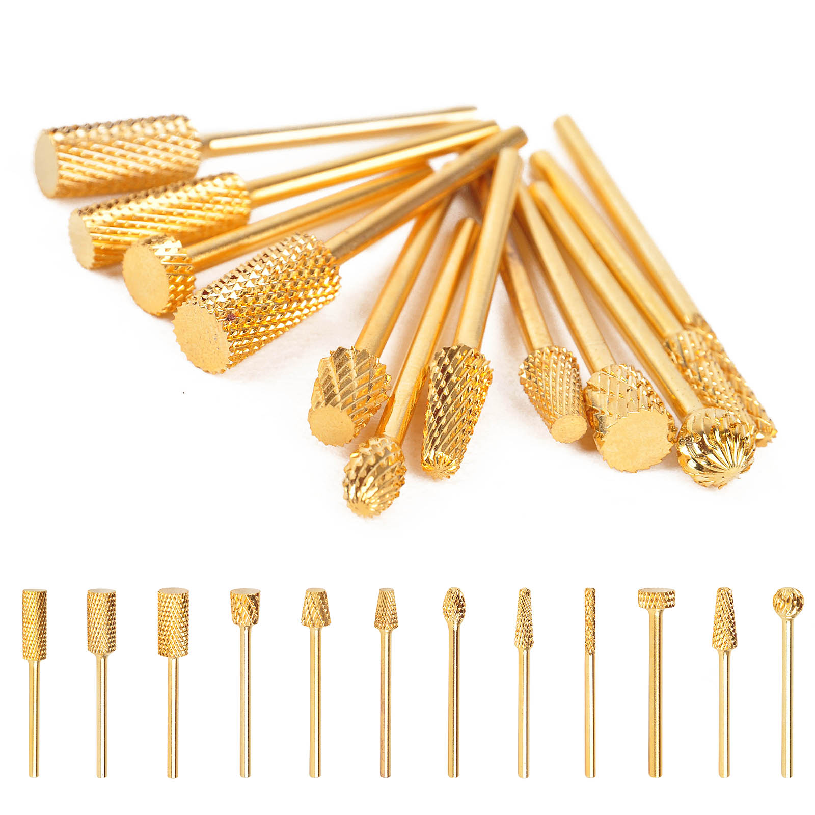 Mayitr 12 Types Nail Drill Carbide Bit High Quality Golden Electric Nail Drill File Carbide Bits Nail Art Manicure Pedicure Tool