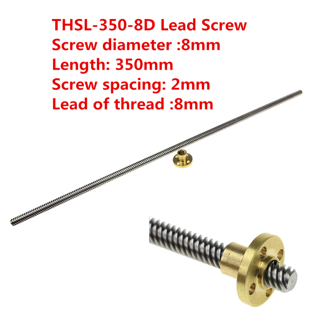 3D Printer THSL-350-8D Lead Screw Dia 8MM Thread 8mm Length 350mm Trapezoidal Spindle Screw with Copper Nut