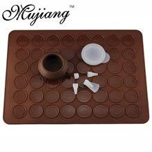 Mujiang capacidade 48 buraco de silicone macaron kit decoração piping pot pastelaria cozimento esteira natal cozinha sobremesa bakeware ferramentas