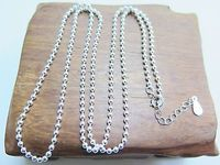 New Pure S925 Sterling Silver Men 2mm Smooth Bead Link Necklace Adjustable