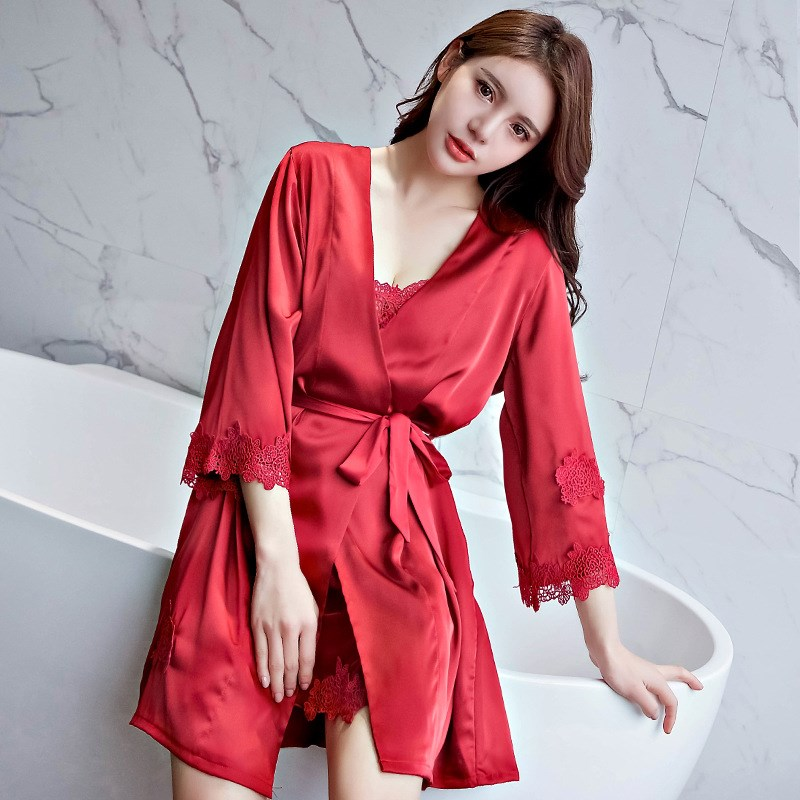 2 Pcs Dessous Set Frauen Silk Pyjamas Sexy Spitze Robe Sets Damen Nachthemd Nachtwäsche