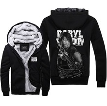 Mens Casual The Walking Dead Daryl Dixion Zip Up Winter Fleece Super Warm Hoodies Sweatshirts Coats