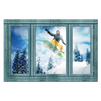 Large Window Frame Style Wall Decor Snowboard Ski Sports Winter Snow Mountain Landscape Picture Canvas Wall Art For Bedroom