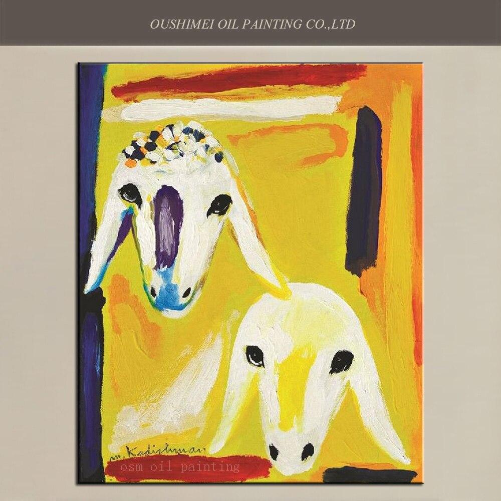 Peint à la main Animal abstrait deux têtes de mouton œuvre murale sur cadre haut fait main artiste Art peinture à l'huile sur toile pour la décoration intérieure