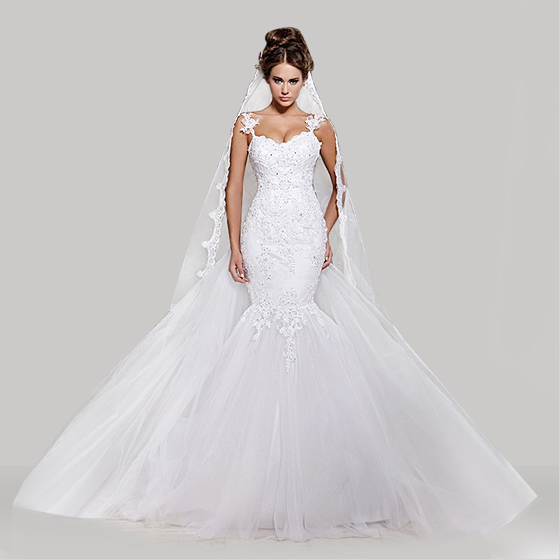 Aliexpress Buy Stunning Mermaid Tulle Wedding Dress Sexy Sweetheart Backless Lace Applique Detachable Train Bridal Gown New Fashion From Reliable