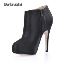 Batzuzhi Brand New Shoes Women zapatos de mujer Fahion Autumn Winter Boots Black Leather Ankle botas mujer, Big Size 35-43