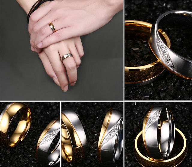 Wedding Ring Gold Plated 316l Stainless Steel