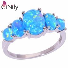 CiNily Created Blue Fire Opal Silver Plated Wholesale  Hot Sell Wedding Party for Women Jewelry Ring Size 5-12 OJ4494