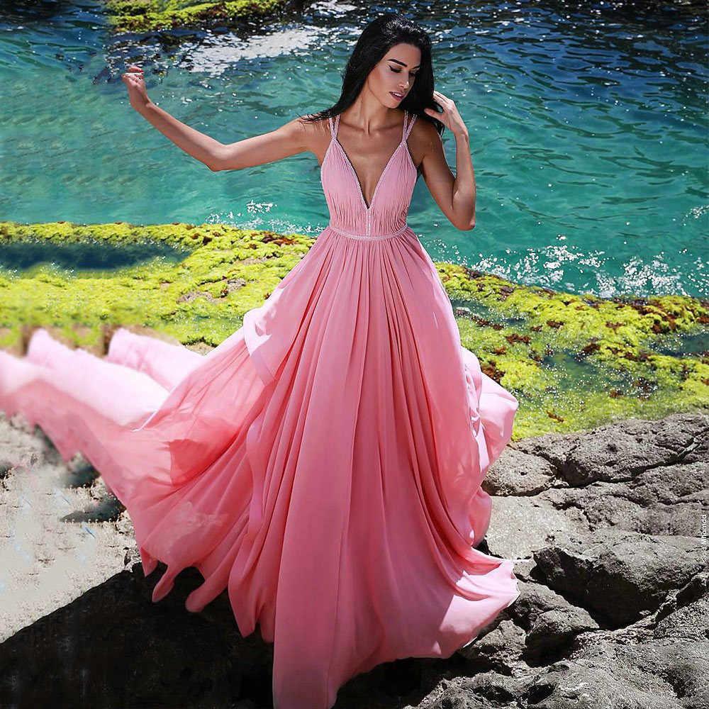 JaneVini arabe rose robes De bal longue en mousseline De soie Bestidos De Gala Sexy perlé profond col en V soirée formelle robe De soirée grande taille 2019