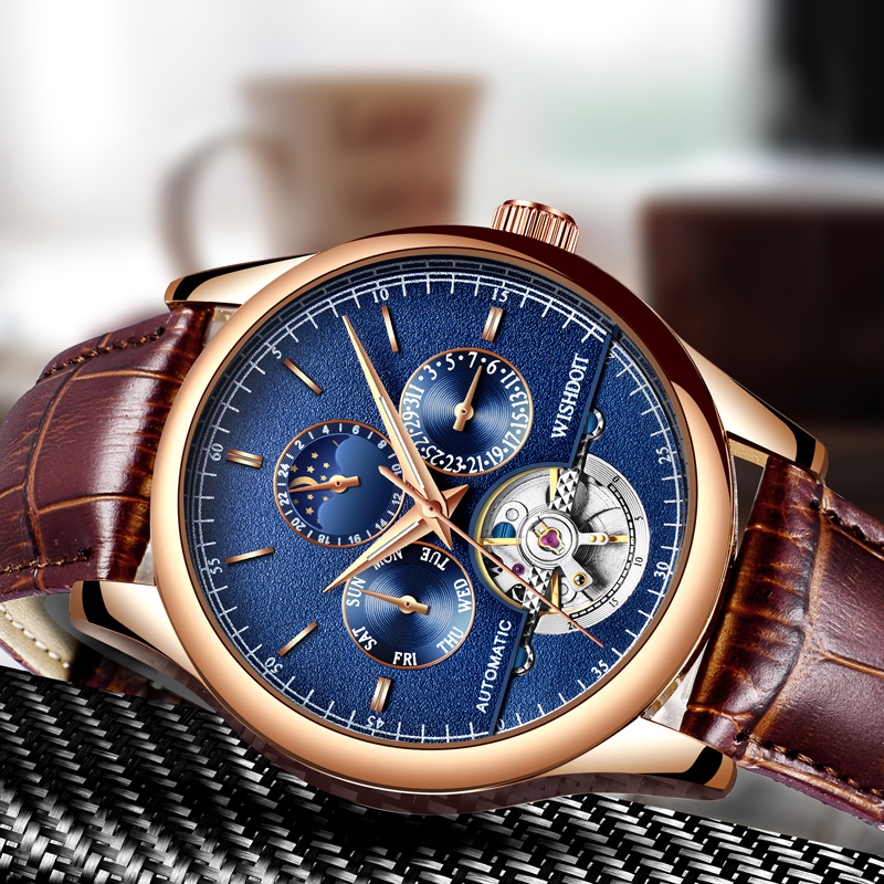 Men Watch Top Luxury Brand WISHDOIT Men's Business Mechanical Watches Fashion Casual Sports brown Leather military Male Clock lige men watch top luxury brand men s business mechanical watches casual fashion sports waterproof military male clock clearance