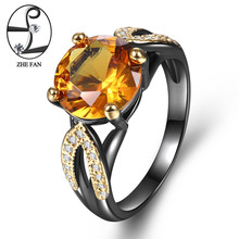 ZHE FAN Yellow AAA Cubic Zirconia Rings For Women Luxury Black Gold Color 2 Tone Plate Jewelry Christmas Gifts