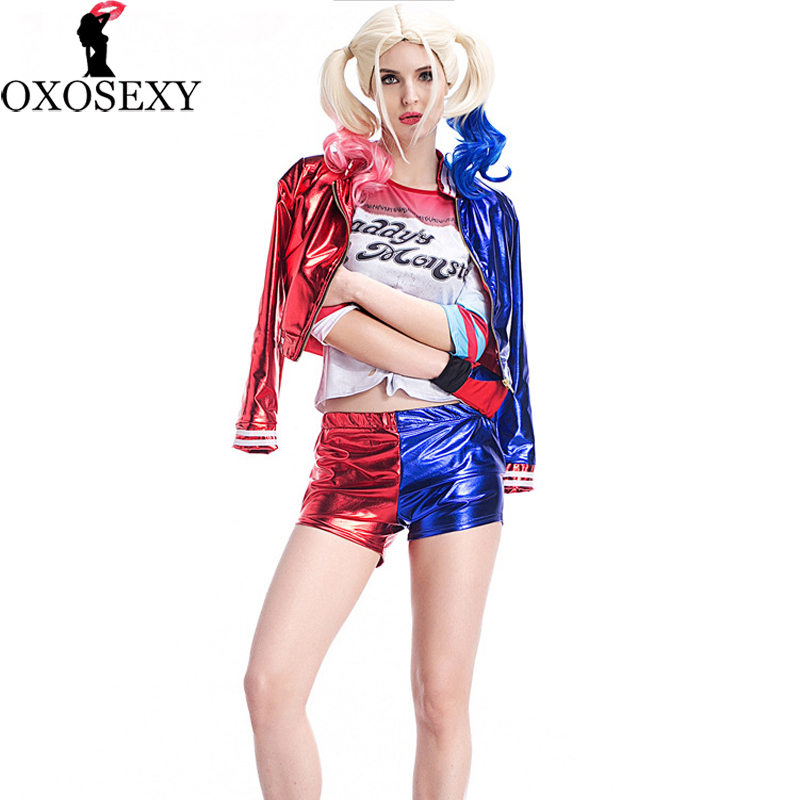New set Women Girls Harley Quinn T-shirts Top+coat+gloves shorts Costume Suicide Squad cosplay Christmas Halloween Costumes 082
