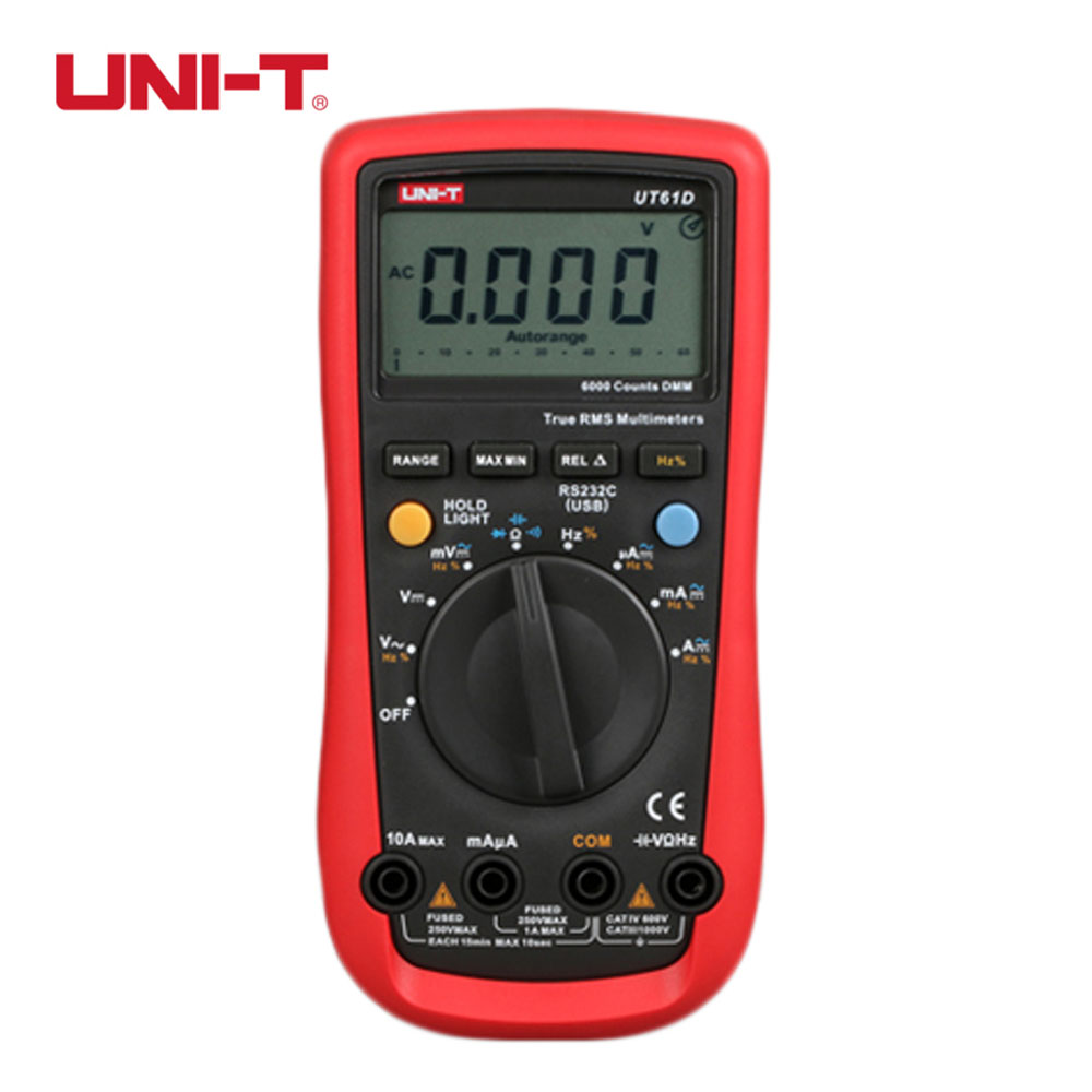 UNI-T UT61D Handheld Digital Multimeters Sinometer Auto-rang AC DC Current Voltage Resistance Meter Tester high quality uni t ut210e handheld lcd digital multimeters ac dc