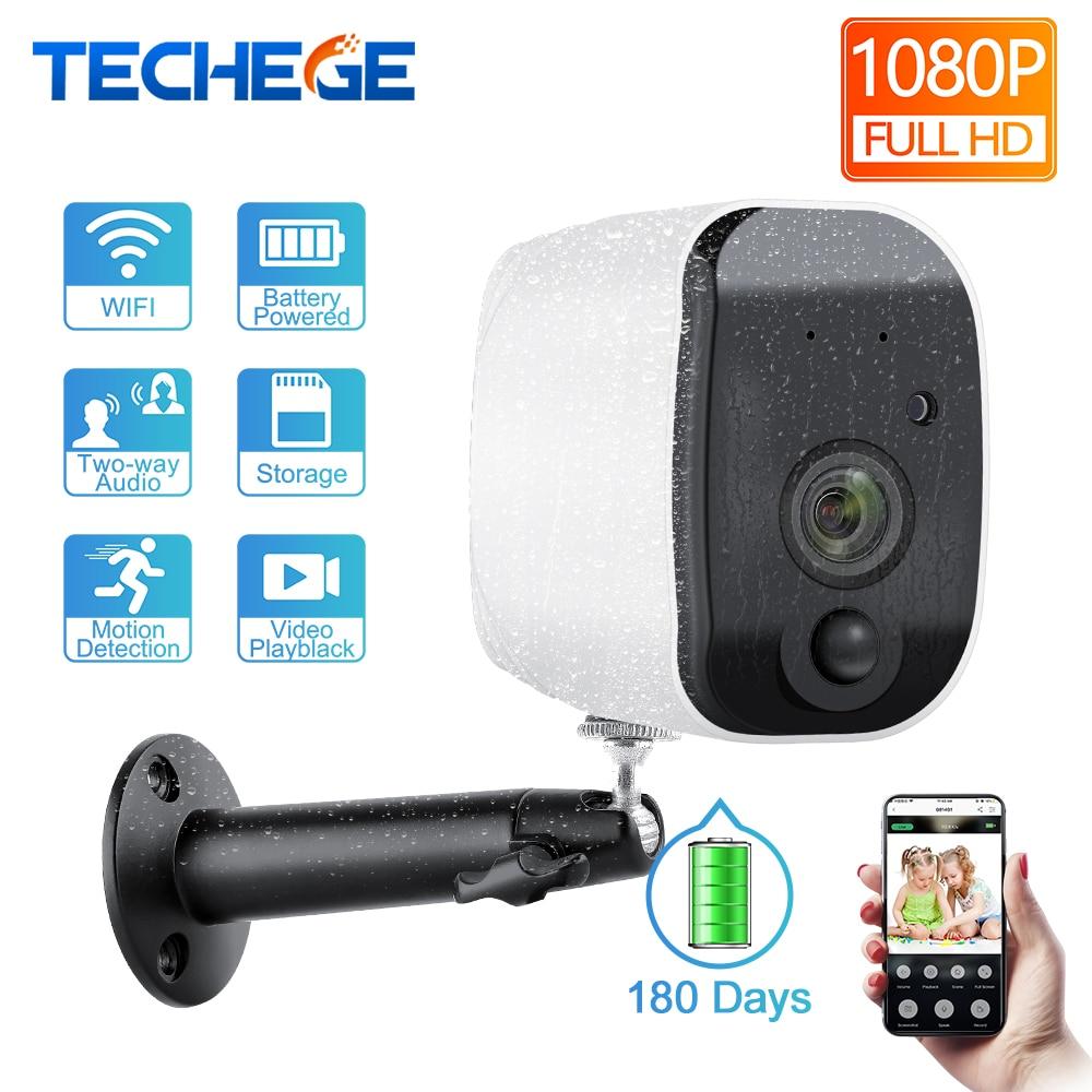 Techege 1080p HD Camera Battery 2.4G WiFi Intercom Outdoor Waterproof Wireless IP Camera Home Security H.265 2MP CCTV Camera