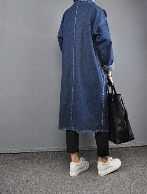 Spring autumn woman casual loose vintage x long denim coat ...