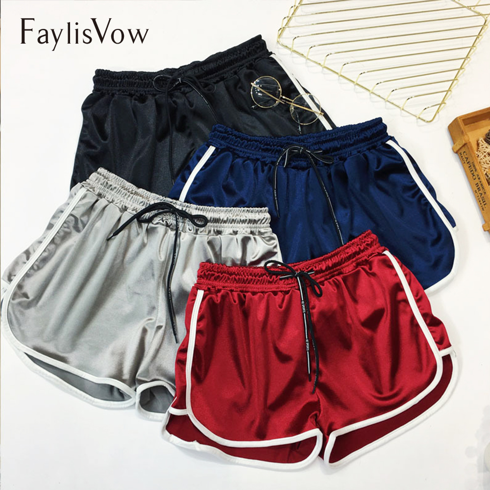 Faylisvow 4xl 5xl Plus Size Slim Satin   Short   Sexy Side Striped High Waist Drawstring Fitness   Shorts   Casual Women Summer   Shorts