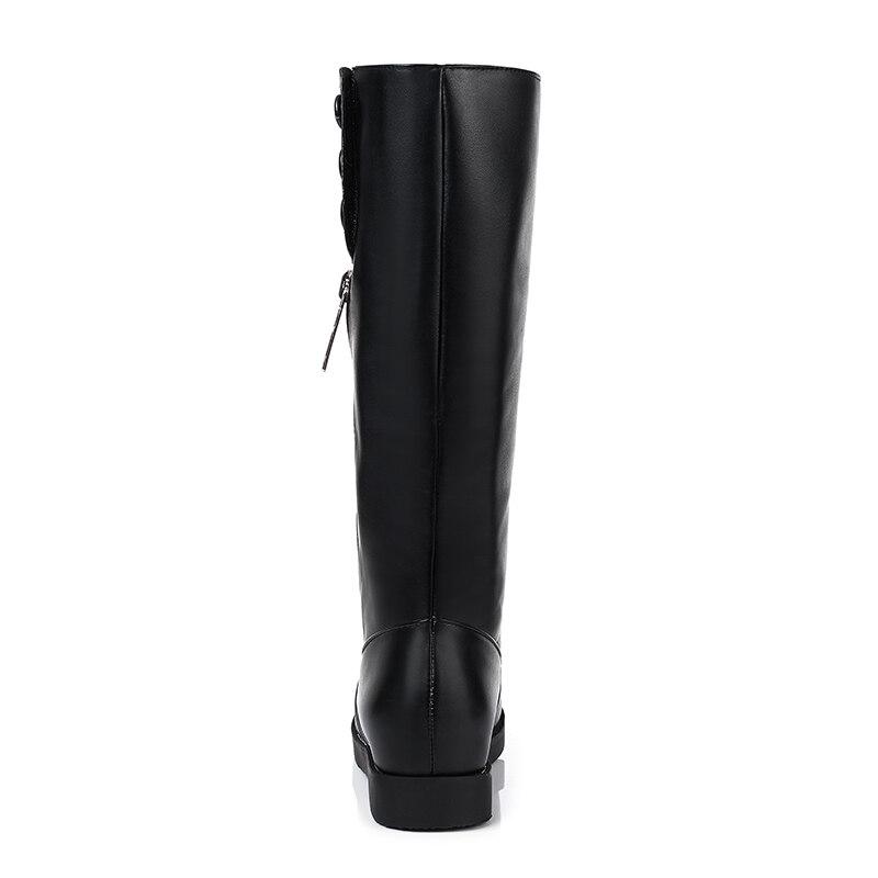 La Botas 2019 34 Pie Mediados Mujer 43 Negro De Cremallera Redonda Zapatos Otoño De Altura Tamaño Tacones Med Mujeres Del becerro Dedo Esveva blanco Aumento EwXqdd1