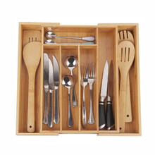 3 inch Deep Expandable Bamboo Wood Cutlery Tray Drawer Utensil Organizer Kitchen Cutlery Storage Box for kitchen home Drawer