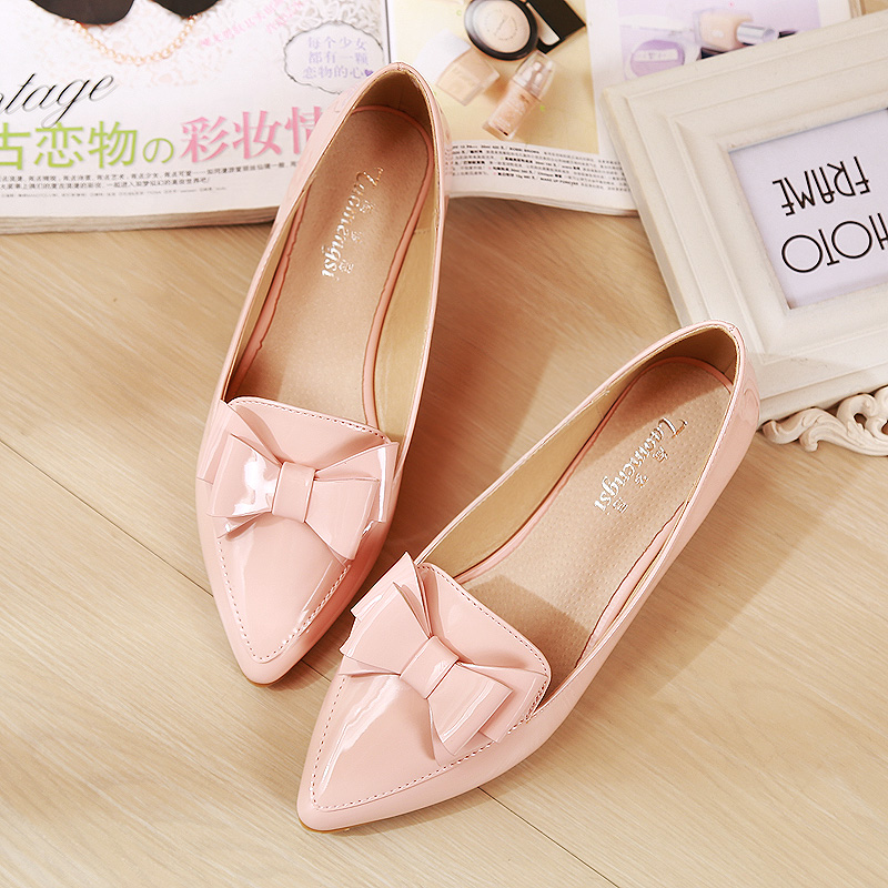ФОТО Spring Autumn Ladies Shoes Women Flats Comfortable Soft Bottom Pointed Toe Party Wedding Shoes Slip-on Work Shoes Size 33-43