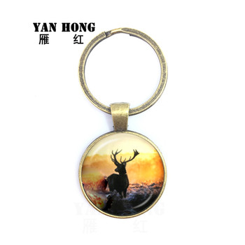 2019 Yanhong jewelry, fashionable crystal glass keys and elk patterns bring good luck. They are the best gifts for friends. image