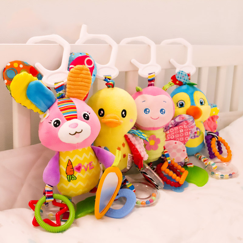 Cute Baby Newborns Bed Stroller Hanging Toys Teether Baby Rattle Mobiles Plush Animal Pram Toys Early Education Boy Girl Kids