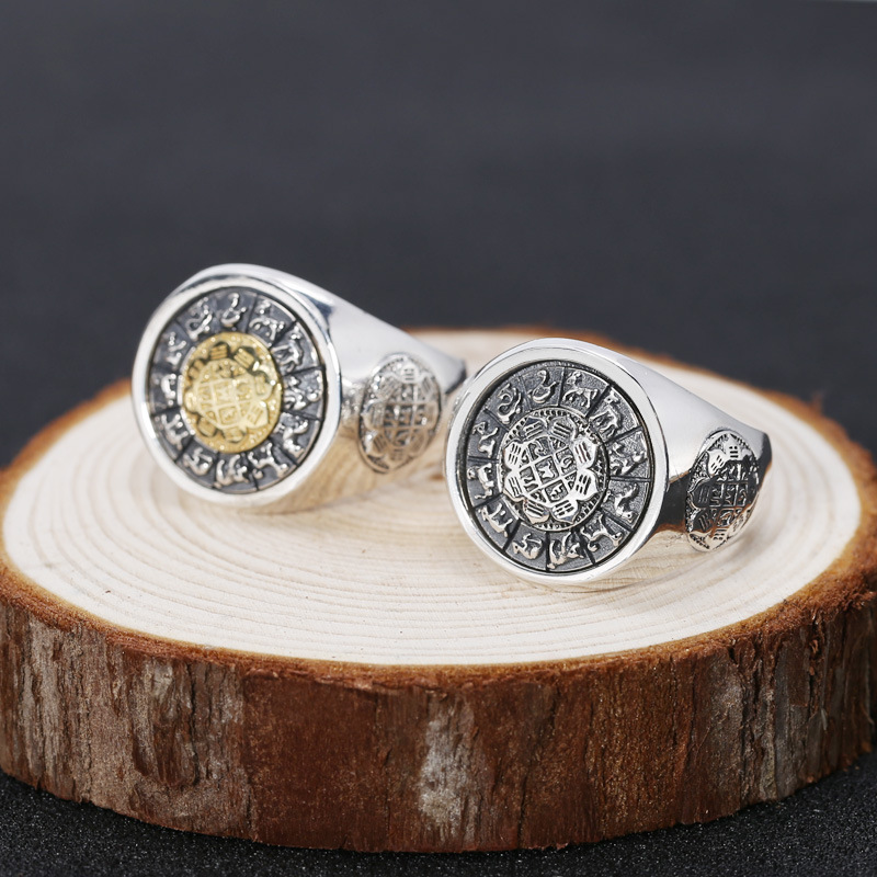 Fashion 925 Sterling Silver Rotatable Lucky Ring Men Jiugong Gossip & Chinese Zodiac Thai Silver Gift Finger Ring ZY295-1 yongheng sl 01 men s 2 in 1 type rotatable titanium steel ring silver