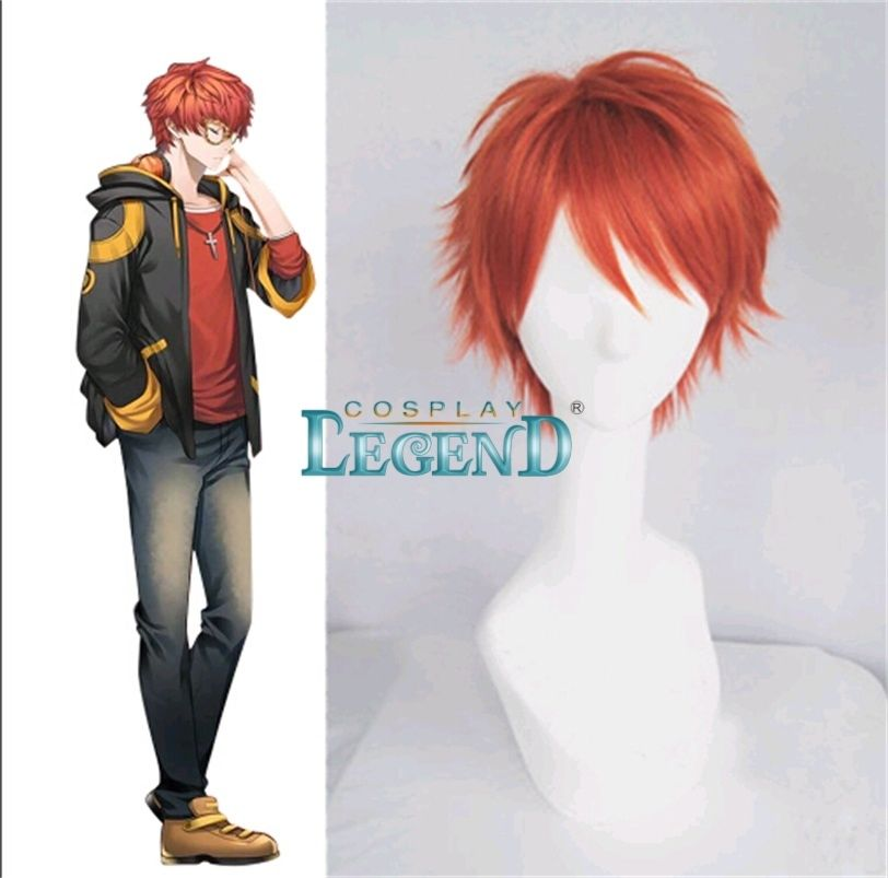Mystic messenger 707 cosplay wig Anime Cosplay Red short straight wig with hair net Costumes