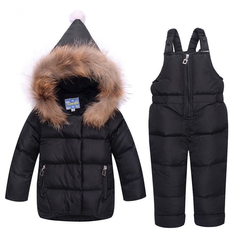 Moletom Com Capuz Jaqueta de Inverno Para Baixo das crianças Meninos Meninas Engrossar Terno Gola de Pele de Bebê Infantil Two-piece Novo Outwear Roupas conjunto Snowsuit
