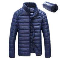 Portátil 90% pato branco para baixo jaqueta de inverno dos homens 2019 ultraleve para baixo jaqueta casual outerwear neve frio casaco parkas bolso wu98