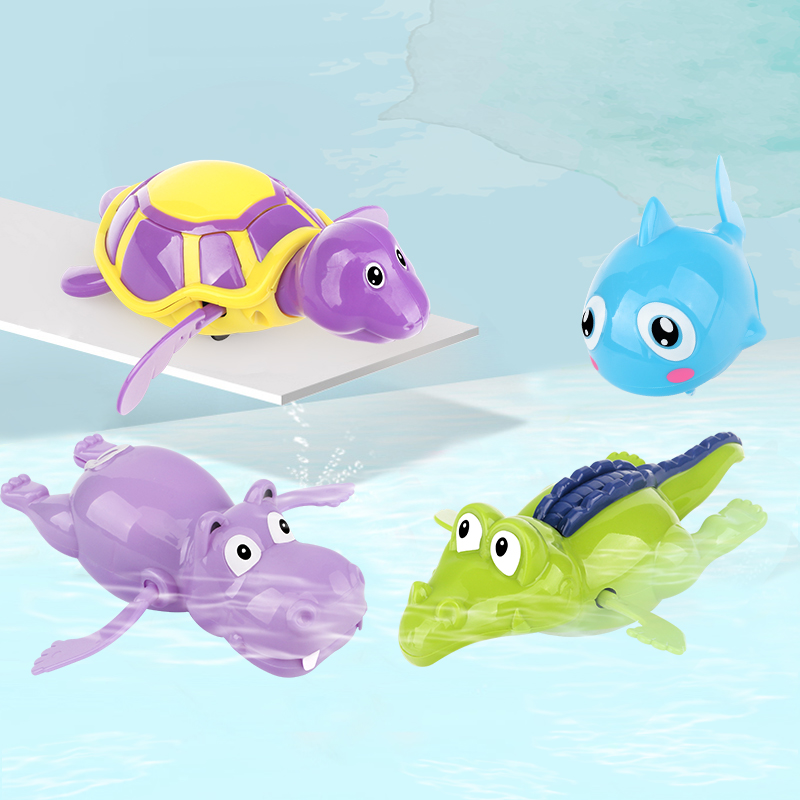 Children Bath Toys Floating Swimming Bathing Cartoon Cute Little Animal Baby Playing Water Small Turtle Small Hippo