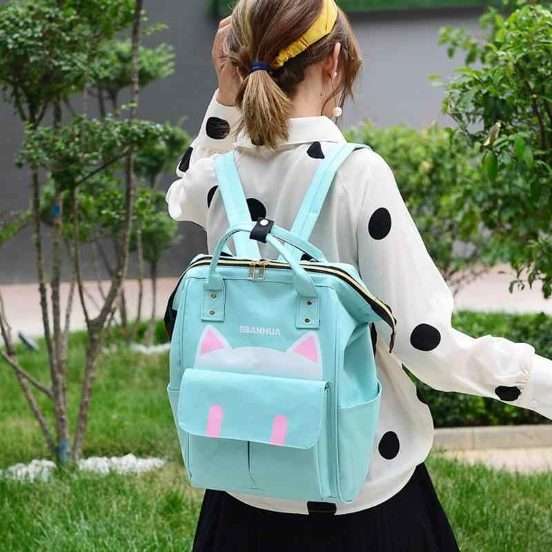 Moda sacos de fraldas do bebê bonito gato impressão mamãe viagem mochilas grande capacidade de viagem maternidade fralda sacos mochila feminina