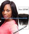 "Lace Frontal closure 8""-20"" 13""x4""Top Hairpieces Straight Free/Middle /Three Part Brazilian virgin Natural Black Human Hair"