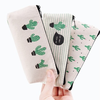 Canvas Cactus Pencil Case School Supplies Kawaii Stationery Zipper Pencil Bags 3 Designs Free Shipping wen6552