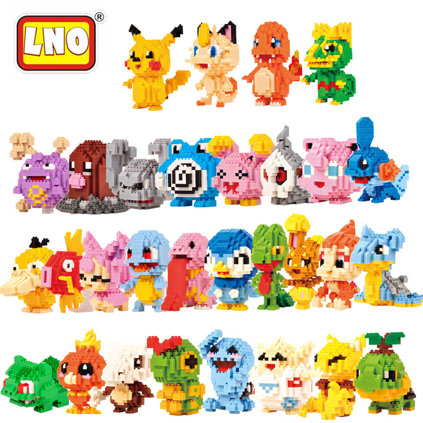 New Arrival LNO Nanoblocks 30 Styles Anime Pikachu Figure Bricks Caterpie Cartoon Plastic Building Blocks Educational Toys Gifts