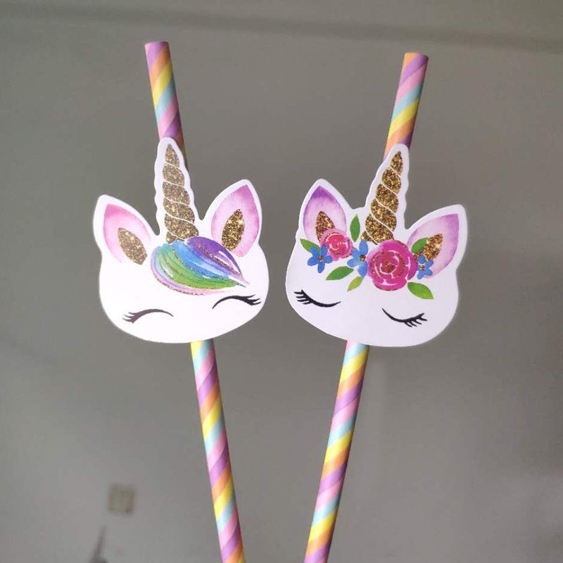 20PCS/Lot Mixing Straws <font><b>Unicorn</b></font> Party Tableware Bendy Flexible Drinking Straws Kids Birthday/Wedding/Pool Party <font><b>Decor</b></font> Supplies image