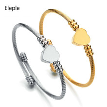 Eleple Titanium Steel Bracelets for Lady Cable Wire Stainless Heart Opening Bracelet Banquet Wedding Gifts Jewelry S-B232