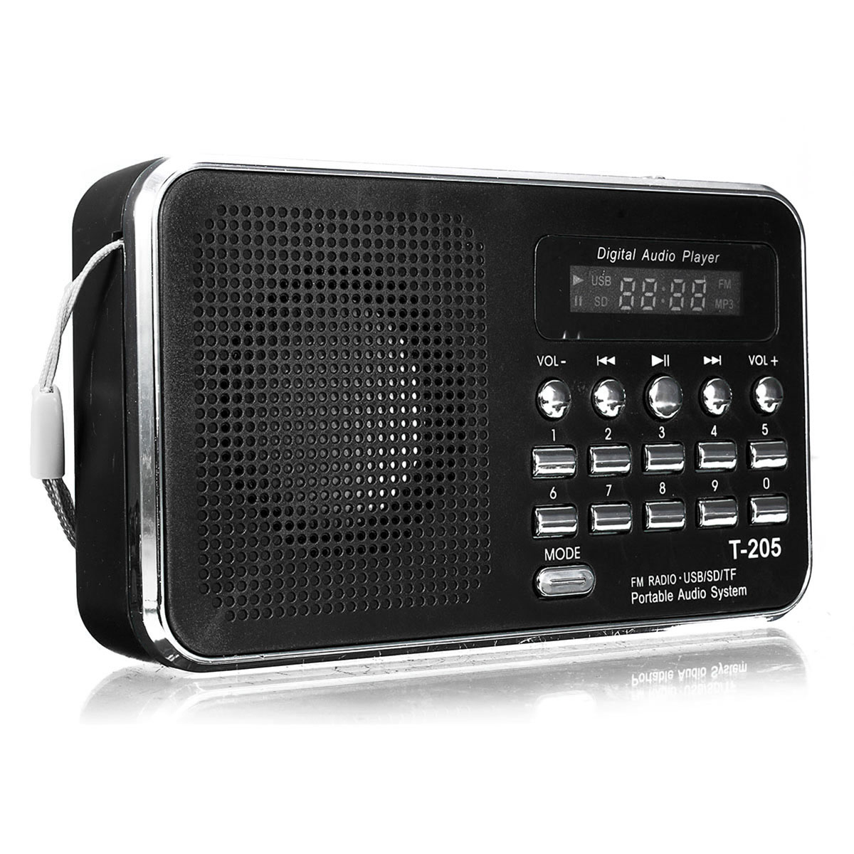 LEORY LCD Display Digital Radio FM Portable Mini Music Player MP3 WMA MMC Support TF Card USB Port Aux Audio Player