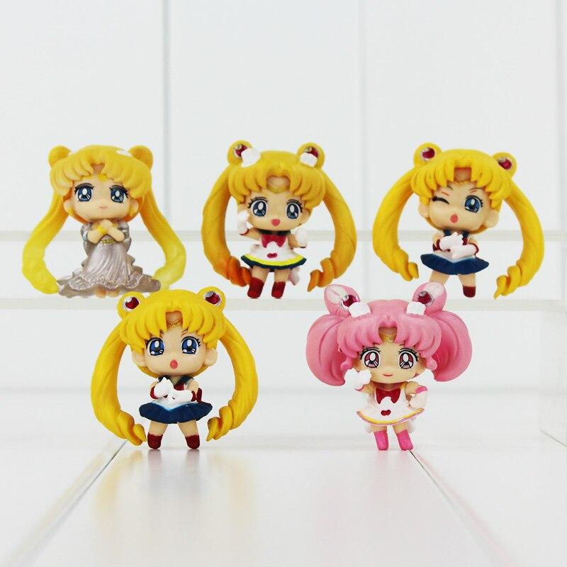 5Pcs/Lot <font><b>Anime</b></font> Cute <font><b>Sailor</b></font> <font><b>Moon</b></font> <font><b>Tsukino</b></font> <font><b>Usagi</b></font> <font><b>Q</b></font> <font><b>Version</b></font> PVC Action Figure Collectible Model Toys Doll for Children Great Gift