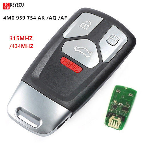 Keyecu Replacement Smart Remote Key Fob 4 Button 315 434MHz for Audi 2017 up A4 A5