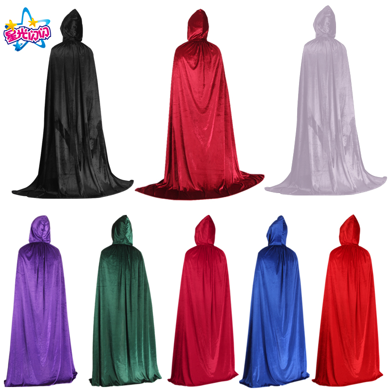 Adult Child Velvet Hooded Vampire Cape Halloween Party Cloak Black Wine Purple Size S-XL Cosplay Death Gothic Heroic Kids Cloak