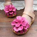 Summer Style Girl Leather Sandals bIG Flower Kids Shoes Children Casual Floral Sandals Girl Shoes Size 21-30