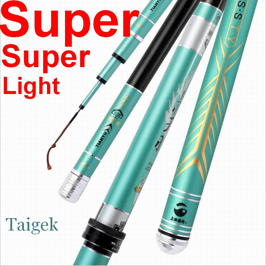 TAIGEK Tianyu Flying Feather 28-37 Moderate Action Super Superlight Telescopic Fishing Rod Carbon Fiber 5.4M About 79g So LIGHT!(China)